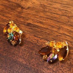 Vintage Earrings Amber Gem Multi-faceted Clip on